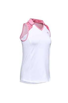 Show details for Under Armour UA Zinger Sleeveless Blocked Polo - White/Pink 100