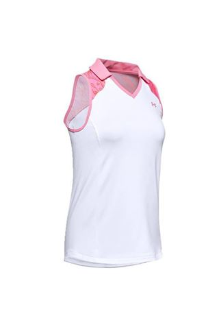 Picture of Under Armour UA Zinger Sleeveless Blocked Polo - White/Pink 100