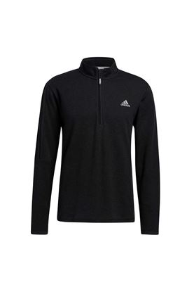 Show details for adidas Men's 3 Stripe 1/4 Zip Sweater - Black Melange