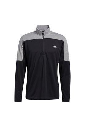 Show details for adidas Men's Lightweight Quarter Zip Sweatershirt - Black Melange
