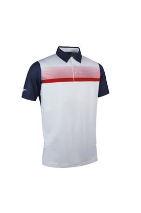 Show details for Glenmuir Men's Leo Striped Polo Shirt - Navy / White / Garnet