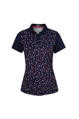 Show details for Callaway Ladies Floral Block Polo Shirt - Peacoat