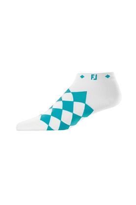 Show details for Footjoy Women's ProDry Fashion Argyle Socks - White / Aqua