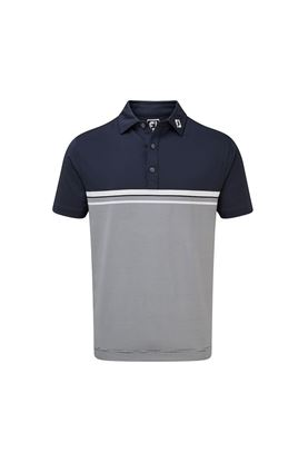 Show details for Footjoy Men's Lisle Engineered End on End Stripe Polo Shirt - Navy / White