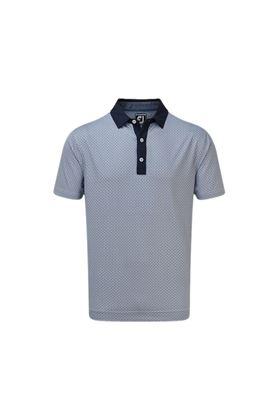 Show details for Footjoy Men's Lisle Foulard Print Polo Shirt - Navy / White