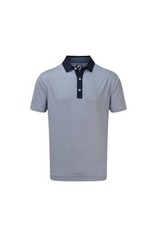 Picture of Footjoy Men's Lisle Foulard Print Polo Shirt - Navy / White