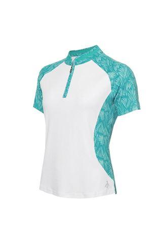 Picture of Green Lamb Ladies Emily Raglan Sleeve Printed Polo Shirt - White / Palm