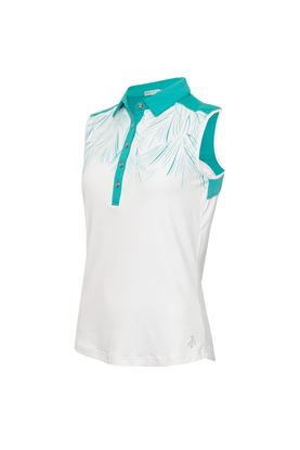 Show details for Green Lamb Ladies Enid Print Sleeveless Polo Shirt - Palm / White