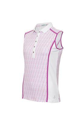 Show details for Green Lamb Ladies Erica Sleeveless Printed Panel Polo shirt - Hexagon