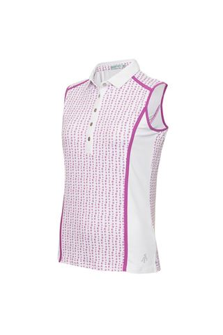 Picture of Green Lamb Ladies Erica Sleeveless Printed Panel Polo shirt - Hexagon