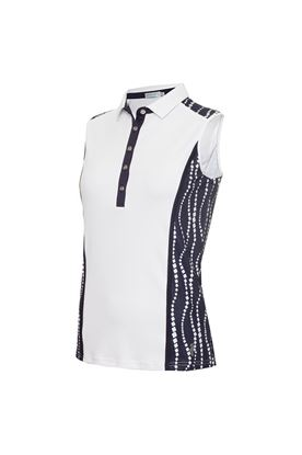 Show details for Green Lamb Ladies Erica Sleeveless Printed Panel Polo Shirt - White / Mono