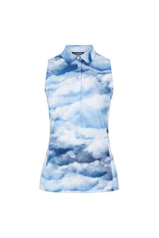 Picture of J.Lindeberg Ladies Dena Sleeveless Golf Top Print - Cloud Midnight / Summer Blue