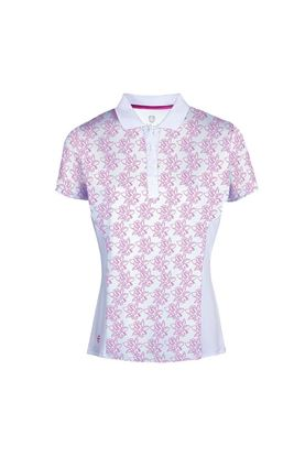 Show details for Island Green Ladies Freesia Print Short Sleeve Polo Shirt - Hot Pink / White