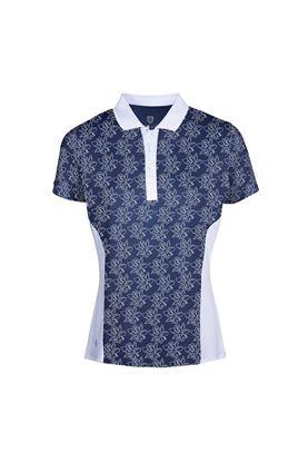 Show details for Island Green Ladies Freesia Print Short Sleeve Polo Shirt - Navy / White