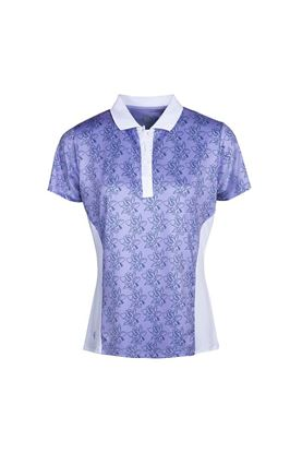 Show details for Island Green Ladies Freesia Print Short Sleeve Polo Shirt - Lavender / White