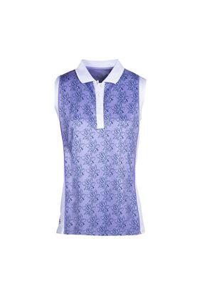 Show details for Island Green Ladies Freesia Print Sleeveless Polo Shirt - Lavender / White