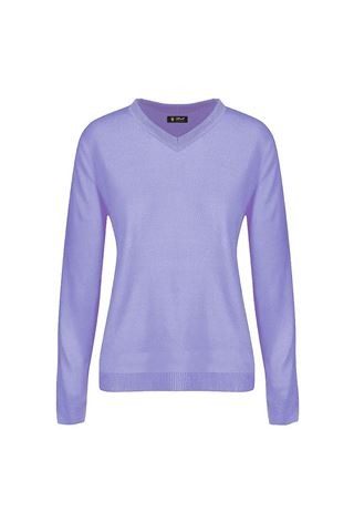 Picture of Island Green Ladies V Neck Knitted Jumper - Lavender