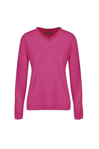 Picture of Island Green Ladies V Neck Knitted Jumper - Hot Pink