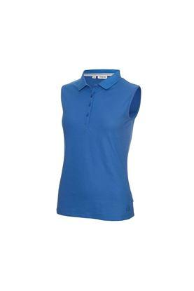 Show details for Calvin Klein Ladies Performance Sleeveless Pique Polo Shirt - Yale Blue