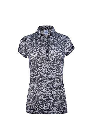 Picture of Daily Sports zns Ladies Kiara Mesh Cap Sleeve Polo Shirt - Black