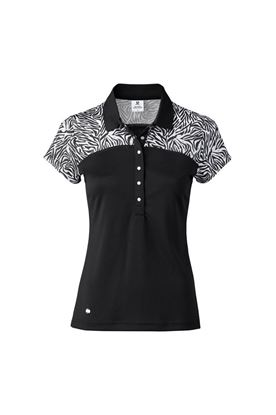 Show details for Daily Sports Ladies Zilian Short Sleeve Cap Polo Shirt - Black