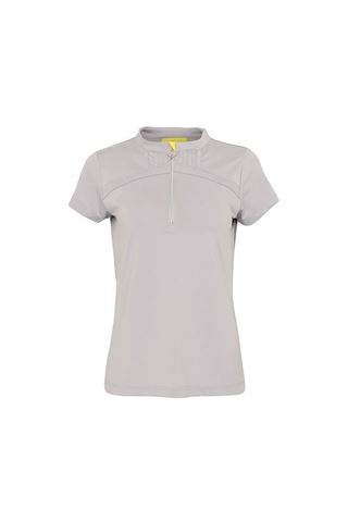Picture of Swing out Sister Ladies Electra Zip Cap Sleeve Polo Shirt - Good Grey