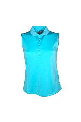 Show details for Callaway Ladies Sleeveless Knit Polo Shirt - Blue Curacao