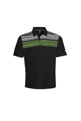Show details for Island Green Men's Matrix Print Polo Shirt - Black / Lime / White / Silver Grey