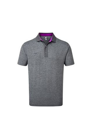 Picture of Footjoy Men's Heather Pique with Pinstripe Trim Polo Shirt - Black