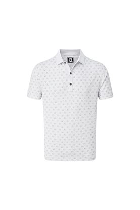 Show details for Footjoy Men's Smooth Pique Weather Print Polo Shirt - White