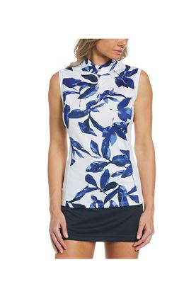 Show details for Callaway Ladies Soft Focus Floral Sleeveless Polo Shirt - Brillant White