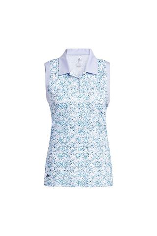 Picture of adidas Ladies Ultimate Print Sleeveless Polo Shirt - White / Violet Tone