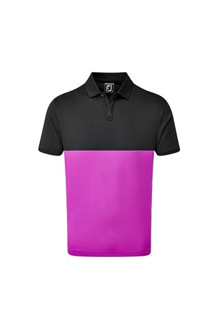 Picture of Footjoy Men's Lisle Engineered Block Polo Shirt - Black / Mulberry