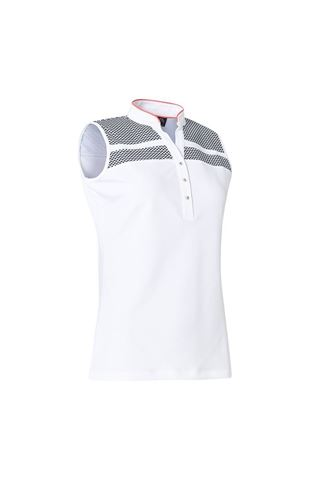 Picture of Abacus Ladies Anne Sleeveless Polo Shirt - Navy / White 389