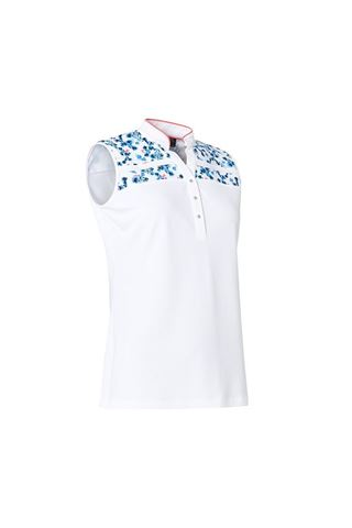 Picture of Abacus Ladies Anne Sleeveless Polo Shirt - White / blue Heaven 940