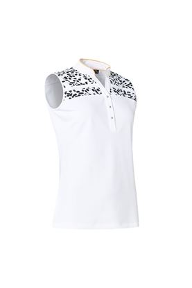 Show details for Abacus Ladies Anne Sleeveless Polo Shirt - Black / White 620