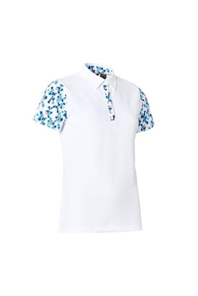 Show details for Abacus Ladies Anne Polo Shirt - White / Blue Heaven