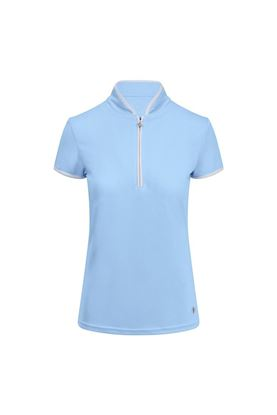 Show details for Pure Golf Ladies Bloom Cap Sleeve Polo Shirt - Pale Blue
