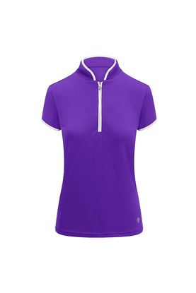 Show details for Pure Golf Ladies Bloom Cap Sleeve Polo Shirt - Purple