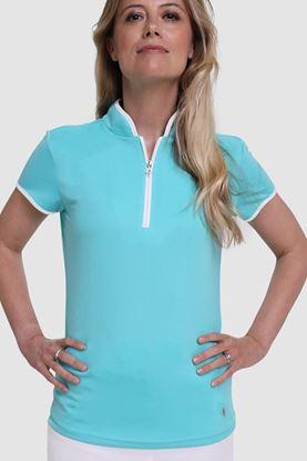 Show details for Pure Golf Ladies Bloom Cap Sleeve Polo Shirt - Ocean Blue