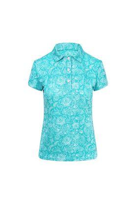 Show details for Pure Golf Ladies Rise Cap Sleeve Polo Shirt - Ocean Blue