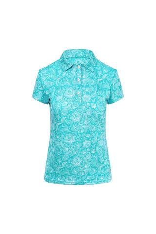 Picture of Pure Golf Ladies Rise Cap Sleeve Polo Shirt - Ocean Blue