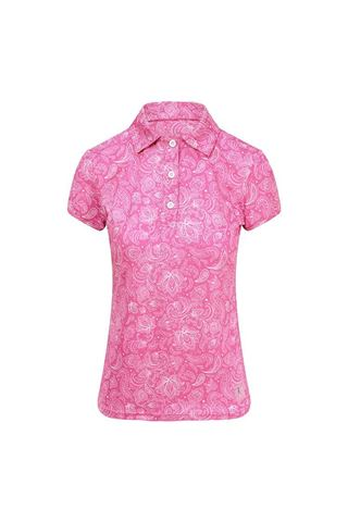 Picture of Pure Golf Ladies Rise Cap Sleeve Polo Shirt - Azalea Pink