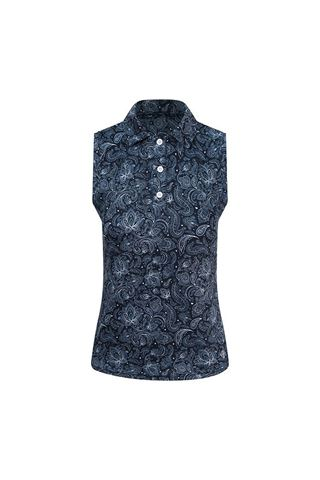 Picture of Pure Golf Ladies Rise Sleeveless Polo Shirt - Navy