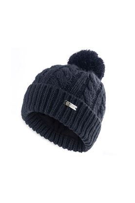 Show details for Island Green Ladies Knitted Bobble Hat with Fleece Lining - Navy