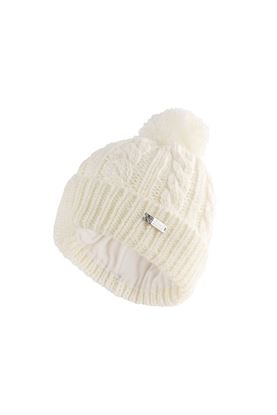 Show details for Island Green Ladies Knitted Bobble Hat with Fleece Lining - Cream