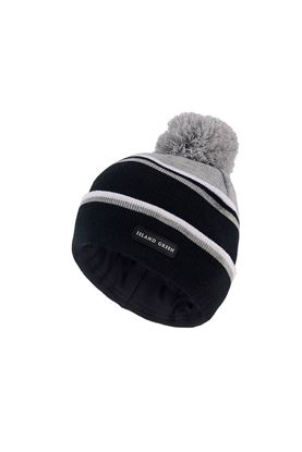 Show details for Island Green Men's Knitted Bobble Hat with Soft Inner Band - Black / Charocal